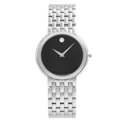 Movado Certa Museum Black Dial Steel Quartz Men's Watch 0605613