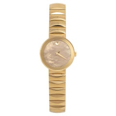 Movado Champagne Gold Plated Stainless Steel Museum Women's Wristwatch 26 mm