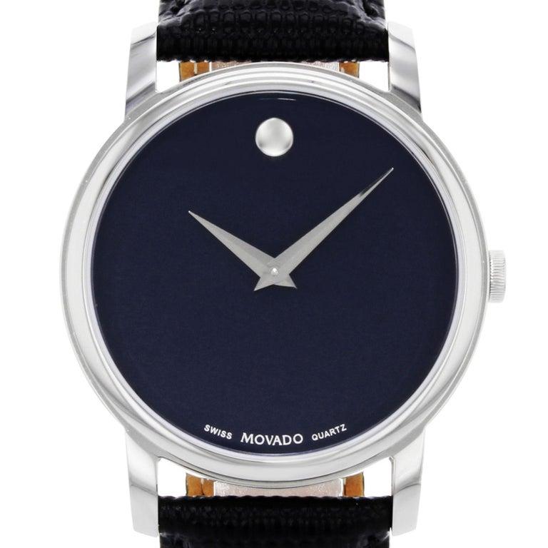 Movado Classic Museum Navy Blue Dial Stainless Steel Quartz Men S Watch 2100007