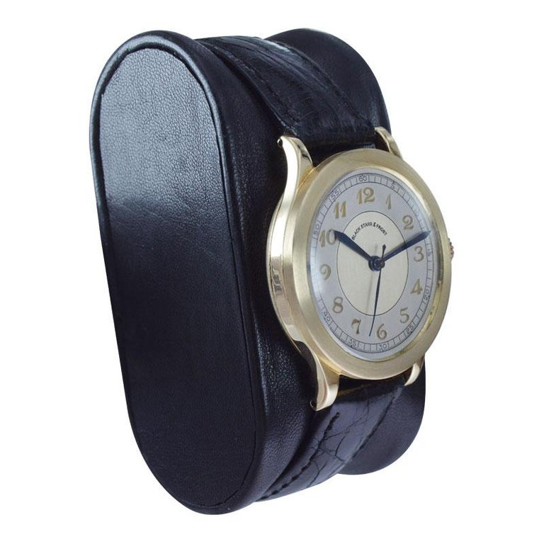 Black Starr & Frost by Movado 14 Karat Gold Art Deco Watch, Original Dial, 1940s For Sale 1