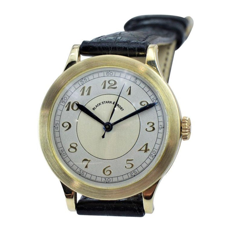 FACTORY / HOUSE: Black Starr & Frost by Movado Watch Company STYLE / REFERENCE: Art Deco / Calatrava Style METAL / MATERIAL: 14kt Solid Yellow Gold  CIRCA / YEAR: 1940's DIMENSIONS / SIZE: 38mm X 32mm MOVEMENT / CALIBER: Manual Winding / 15 Jewels