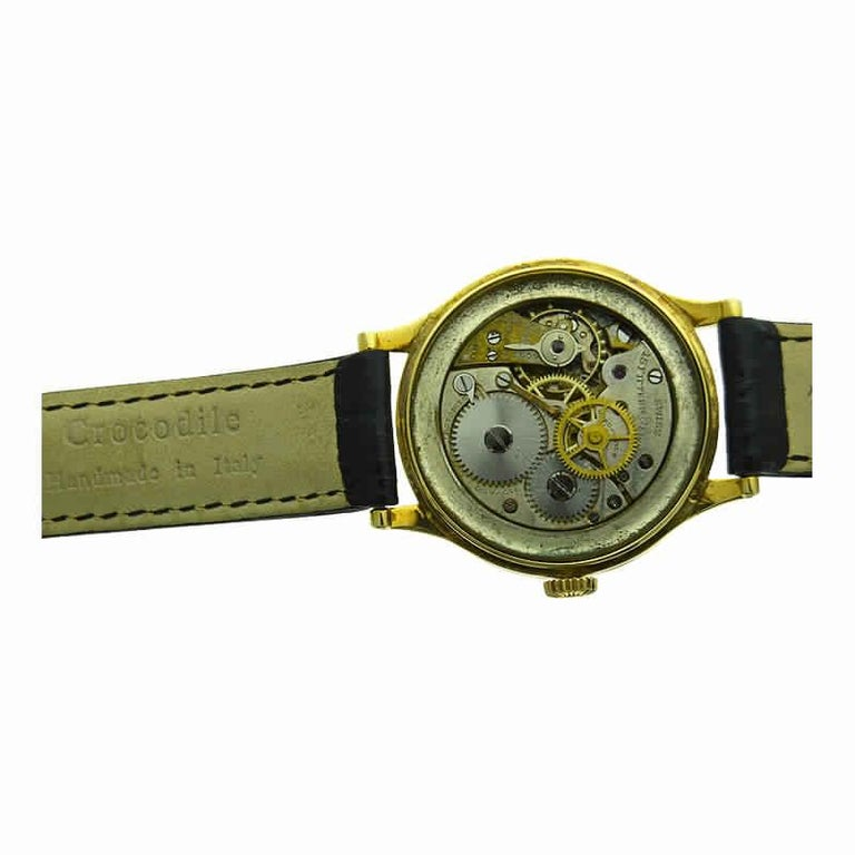 Black Starr & Frost by Movado 14 Karat Gold Art Deco Watch, Original Dial, 1940s For Sale 6