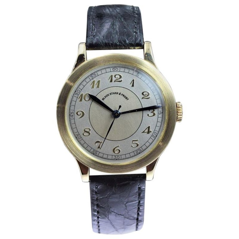 Black Starr & Frost by Movado 14 Karat Gold Art Deco Watch, Original Dial, 1940s In Excellent Condition For Sale In Venice, CA