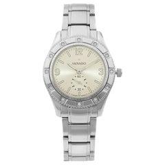 Movado Gentry Steel Diamond Bezel Silver Dial Quartz Ladies Watch