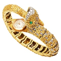 Movado Gold Diamond Emerald Bracelet Snake Wristwatch