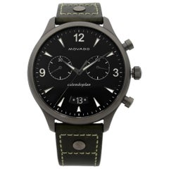 Movado Heritage Gunmetal Steel Green Leather Black Dial Quartz Watch 3650029