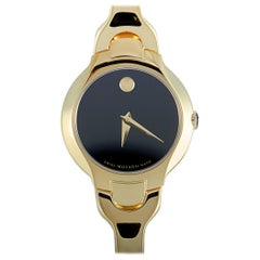 Movado Kara Yellow Gold Toned Black Dial Watch 0606936