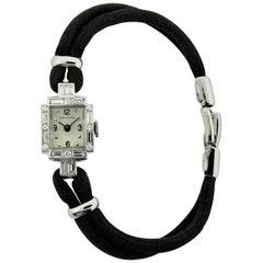 Movado Ladies Platinum Diamond Midcentury Manual Winding Dress Watch