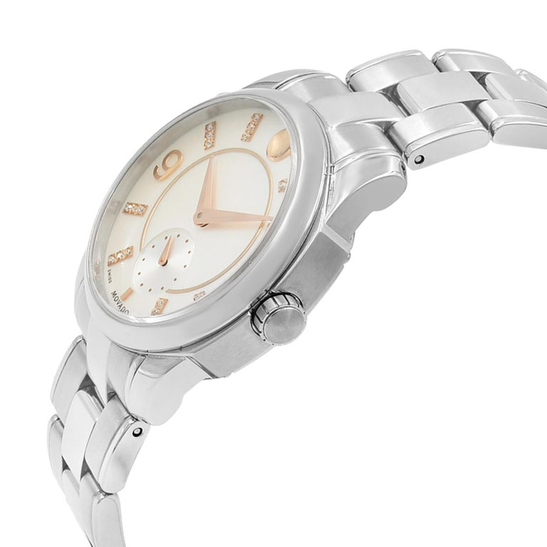 Movado LX Steel Diamond Mother of Pearl Dial Quartz Ladies Watch 0606619 In Good Condition For Sale In New York, NY