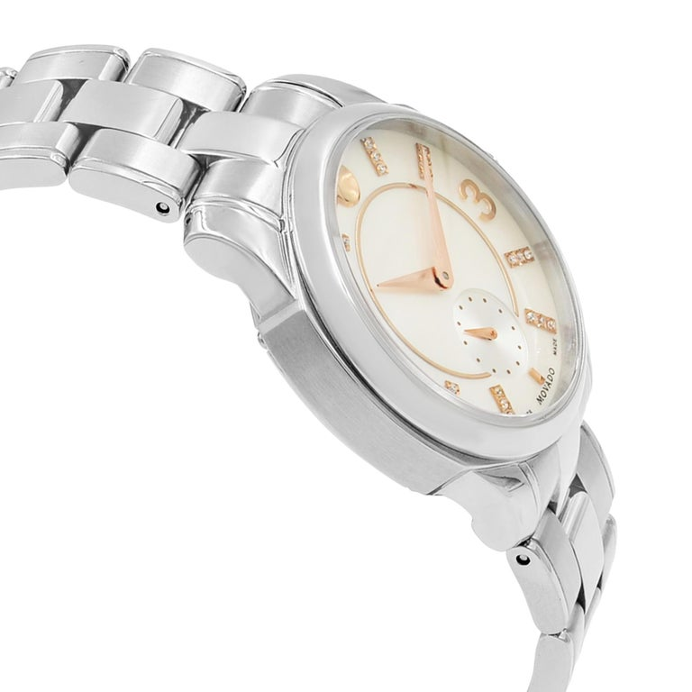 Women's or Men's Movado LX Steel Diamond Mother of Pearl Dial Quartz Ladies Watch 0606619 For Sale