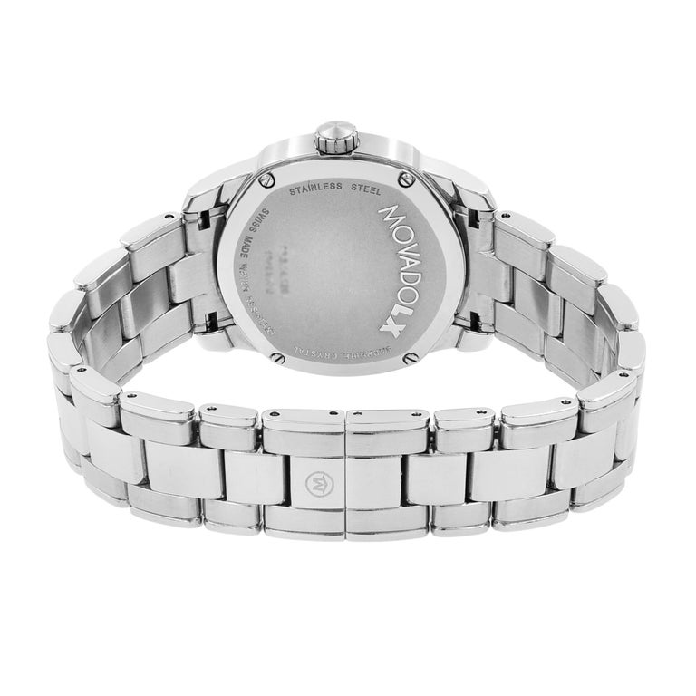 Movado LX Steel Diamond Mother of Pearl Dial Quartz Ladies Watch 0606619 For Sale 1