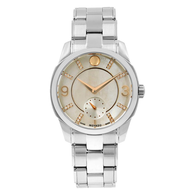 Movado LX Steel Diamond Mother of Pearl Dial Quartz Ladies Watch 0606619 For Sale