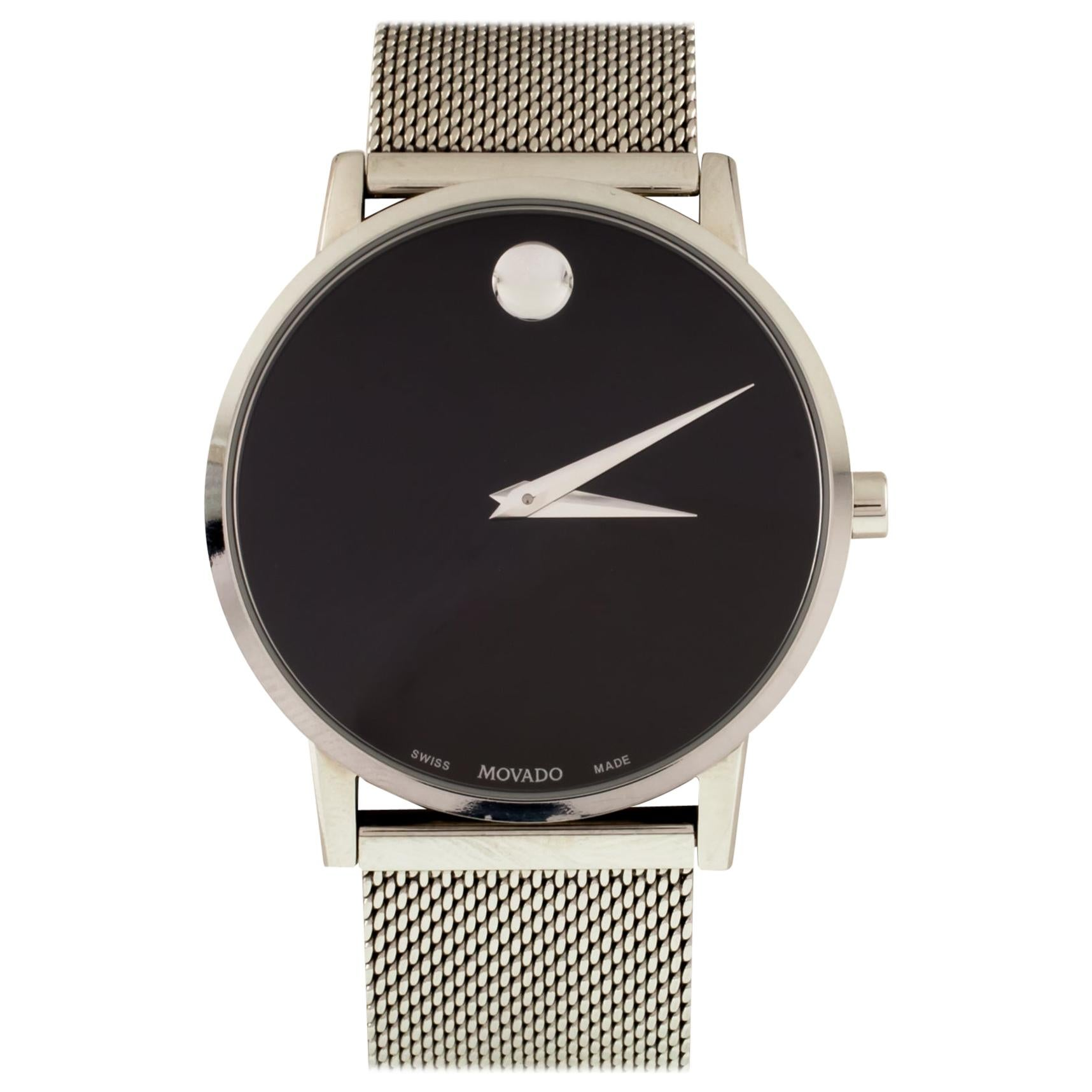 Movado Men's Quartz Steel Watch with Mesh Band 0607219 with Box and Papers