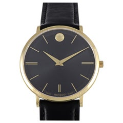 Movado Men's Ultra Slim Black Dial Watch 0607087
