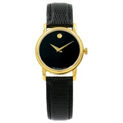 Movado Museum Black Dial Gold Tone Steel Leather Ladies Quartz Watch 2100006
