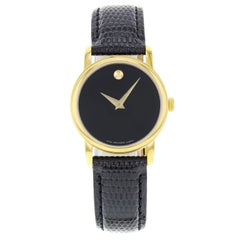 Movado Museum Black Dial Gold Tone Steel Leather Ladies Watch 2100006