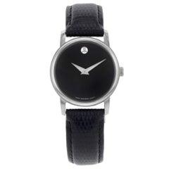Movado Museum Black Dial Leather Band Steel Case Quartz Ladies Watch 2100004