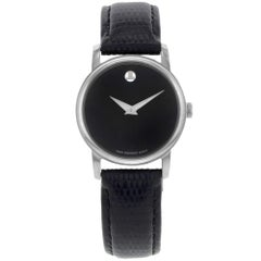 Movado Museum Black Dial Leather Band Steel Case Quartz Ladies Watch 2100004