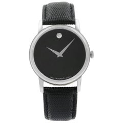 Movado Museum Black Leather Stainless Steel Quartz Men's Watch 2100002