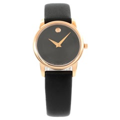 Movado Museum Classic Rose Gold Tone Steel Leather Quartz Ladies Watch 0607079