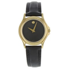 Movado Museum Gold Tone Stainless Steel Black Dial Quartz Ladies Watch 690299
