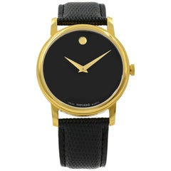 Movado Museum Gold Tone Stainless Steel Leather Quartz Men's Watch 2100005