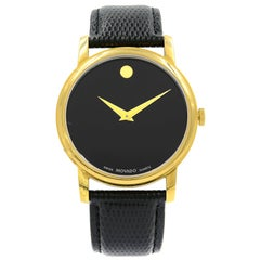 Movado Museum Gold Tone Steel Black Dial Leather Quartz Men's Watch 2100005