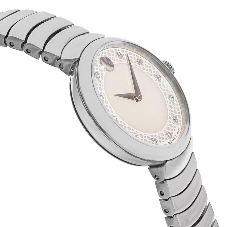 Movado Myla White Mother of Pearl Diamond Dial Steel Quartz Ladies Watch 0607044 In New Condition For Sale In New York, NY