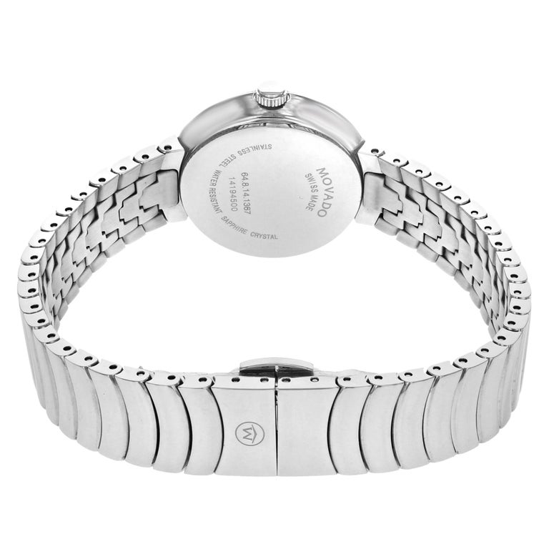 Women's Movado Myla White Mother of Pearl Diamond Dial Steel Quartz Ladies Watch 0607044 For Sale