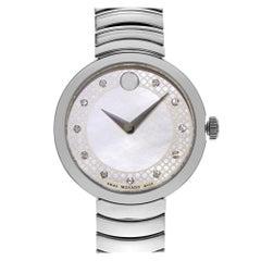 Movado Myla White Mother of Pearl Diamond Dial Steel Quartz Ladies Watch 0607044
