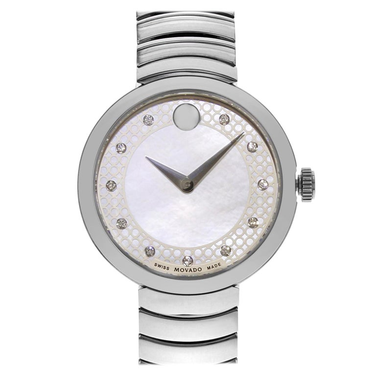 Movado Myla White Mother of Pearl Diamond Dial Steel Quartz Ladies Watch 0607044 For Sale