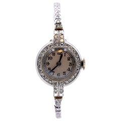 Movado Platinum Diamond Vintage Ladies Watch