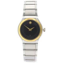 Movado Quadro Museum Two-Tone Steel Black Dial Quartz Ladies Watch 0606955