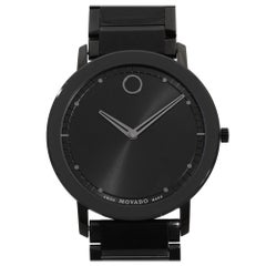 Movado Sapphire PVD Stainless Steel Black Dial Quartz Men's Watch 0606882