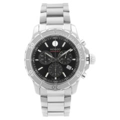 Movado Series 800 Steel Chronograph Black Dial Quartz Mens Watch 2600110