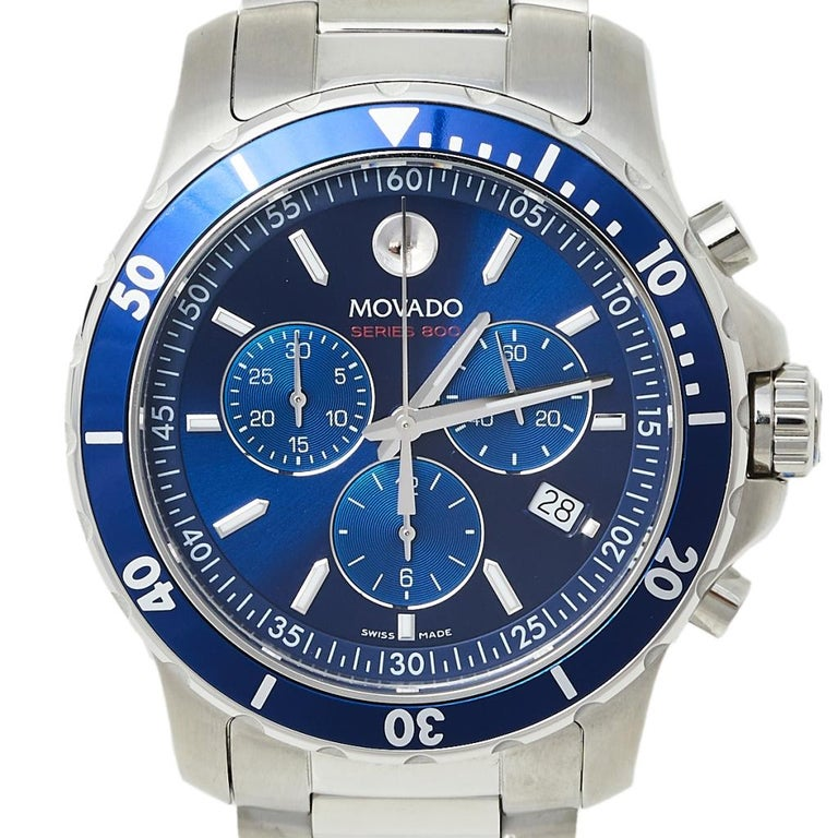 Contemporary Movado Series 800 Chronograph MO.14.1.27.1425.1127.10/3 Men's Wristwatch 42 mm For Sale