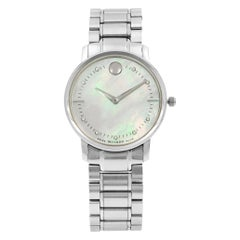 Movado TC Museum Steel Mother of Pearl Dial Diamond Quartz Ladies Watch 0606691