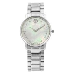 Movado TC Museum Steel Mother of Pearl Dial Diamond Quartz Ladies Watch 0606691
