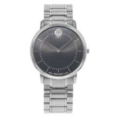 Movado Thin Classic Black Dial Stainless Steel Quartz Men's Watch 0606687