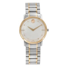 Movado Thin Classic MOP Diamond Dial Two-Tone Steel Quartz Ladies Watch 0606692
