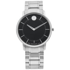 Movado Thin Classic Stainless Steel Black Dial Quartz Men's Watch 0606687
