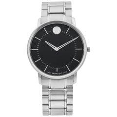 Movado Thin Classic Stainless Steel Black Dial Quartz Men's Watch 0606687