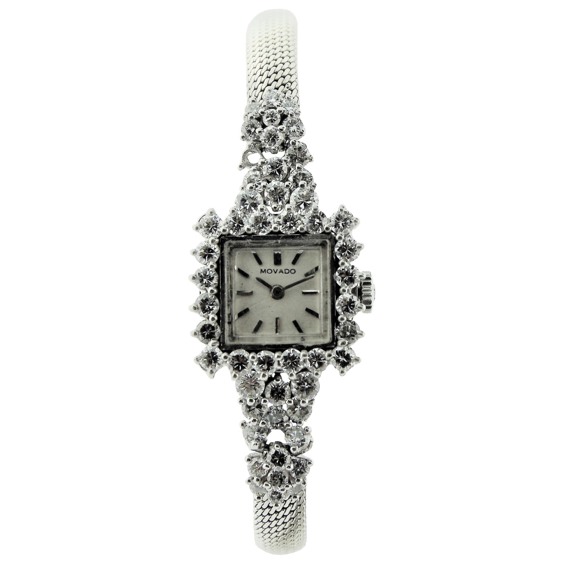 Movado Watch Company Ladies Platinum Diamond Dress Watch