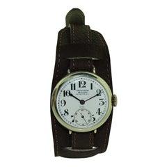 Movado Watch Factory Silver Campaign Style with Original Enamel Dial, circa 1915