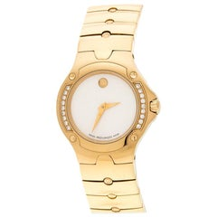Movado White Mother of Pearl Yellow Gold Plated Steel Diamonds Sports Edition 88