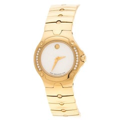 Movado White Mother of Pearl Yellow Gold Plated Steel Diamonds  Wristwatch 27 mm