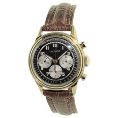 Movado Yellow Gold Art Deco Triple Register Chronograph Manual Watch