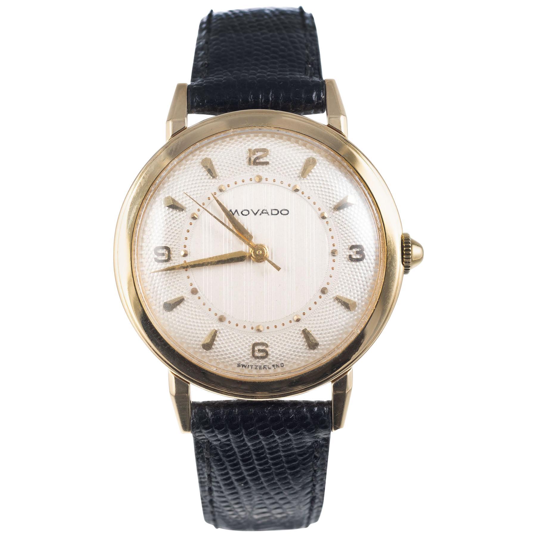 Movado Yellow Gold Manual Wind Men's Strap Wristwatch