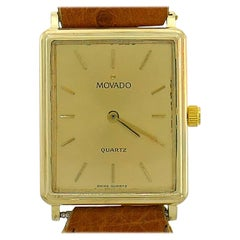Movado Yellow Gold Wristwatch Leather Strap