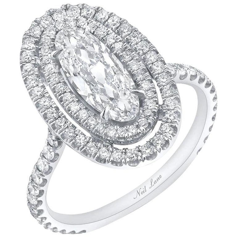 Moval-cut diamond and platinum ring, 2020